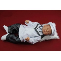Christening/Special Occasion Baby Boy White/Gray Outfit Style JAMES