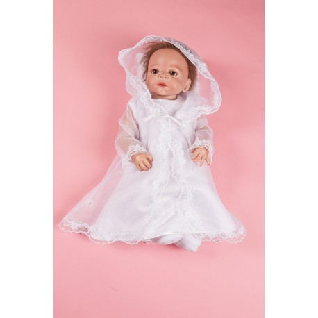 2 Pieces White Christening Baby Girl Set Style PCH-52