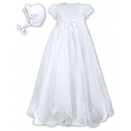 Sarah Louise Baby Girl Christening White Robe/Gown & Bonnet Style 001050S