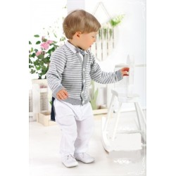 5 Pieces White/Gray Baby Boy Christening/ Special Occasion Outfit Style WA003