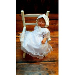 White Baby Girl Christening Dress with Bonnet Style MAYA SL