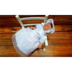 White Christening Baby Girl Dress with Bonnet Style MONICA