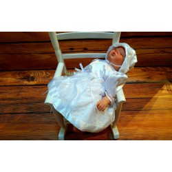 White Christening Baby Girl Dress with Bonnet Style JULIA