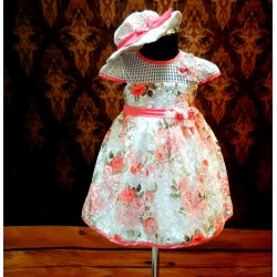 Lovely Ivory/Pink Special Occasion Girl Dress with Bonnet Style 0614