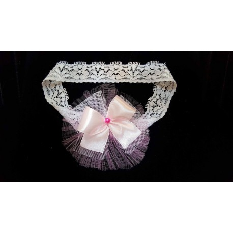 White/Pink Christening/Special Occasion Headband Style 11b
