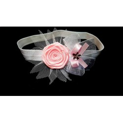 Lovely White/Pink Christening/Special Occasion Headband Style 189