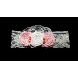 White/Pink Christening/Special Occasion Headband Style 111 b