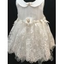 Couche Tot Ivory Baby Christening/Special Occasion Dress with Matching Headband 123056