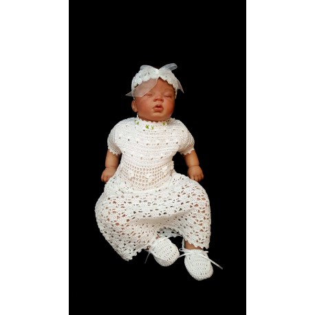 White Crochet Christening/Special Occasion Dress Short Sleeves with Headband and Shoes style Gabi 3