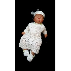 White Crochet Christening/Special Occasion Dress with Headband and Shoes style Gabi 2