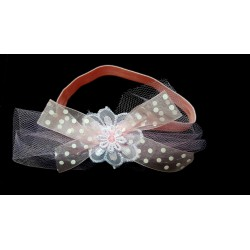 Pink Christening/Special Occasion Headband with Flower and Bow Style HB-02