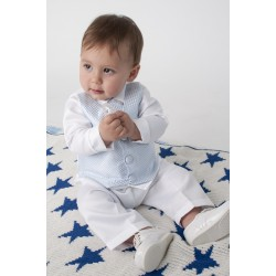 White/Blue Baby Boy Checkered Christening/Special Occasion Suit Style CR02