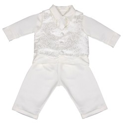 Ivory Baby Boys Paisley Christening/Special Occasion Suit Style CR01