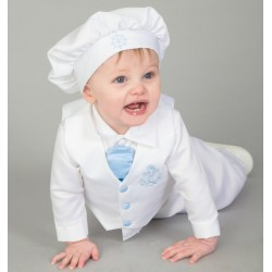 White/Blue Baby Boy Christening/Special Occasion Suit with Bonnet Style CR08