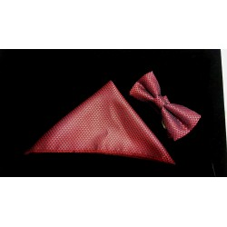 Bowtie and Pocket Square in Burgundy style Bow04