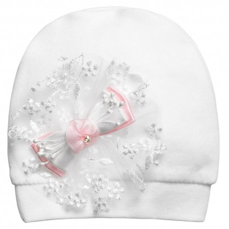 Ivory/Pink Baby Girl Hat style HB6023