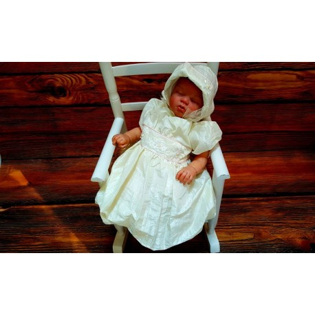 Lovely Ecru Christening/Special Occasion Dress and Bonnet style AX01