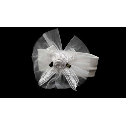 White Christening/Baptism Headband with Roses Style 7048