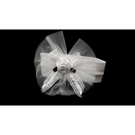 White Christening/Baptism Headband with Roses Style 7048