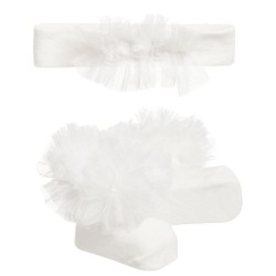 Ivory Christening/Baptism 2 Piece Set Socks and Headband Style 3693
