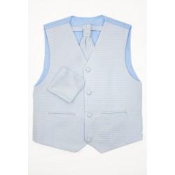 3 Piece Diamond Waistcoat Wedding/Special Occasion Set in Blue