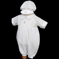 White Christening Baby Boy Romper with Hat Style CROSS2