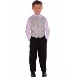 Boys Silver 4 Piece Pageboy Waistcoat Set style Ricardo00