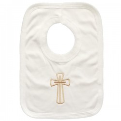 Christening Ivory Bib with Gold Cross style GCross