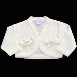 Lovely White Christening/Special Occasion Baby Girl Bolero with Bows Style 2bow