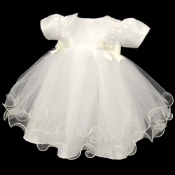 Lovely Double Bow Christening Dress in Ivory style 4002bow