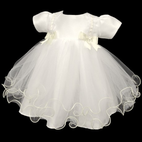Lovely Double Bow Christening Dress in Ivory style 400
