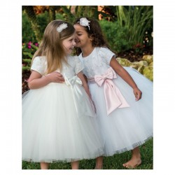 White Bow Communion/ Ceremonial Ballerina Length Dress - Style 070034x