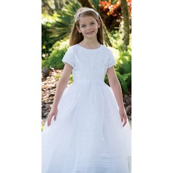 Lovely Striped Skirt Communion Dress by Sarah Louise style 090050