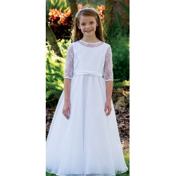 Lovely 3/4 lenght Sleeves Communion Dress by Sarah Louise style 090052
