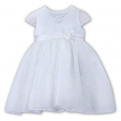 White Lace Christening Ballerina Length Dress - Style 070058