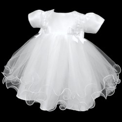 Lovely Double Bow Christening Dress in White style 4002bow