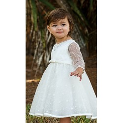 Ivory Long Lace Sleeves Christening Ballerina Length Dress Style 070086-2