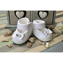 Baby Girl Beautiul Velvet White Christening/Baptism Shoes Style DIAMOND BOW