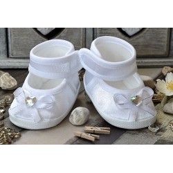 Lovely Baby Girl White Christening/Baptism Shoes Style WHITE CRYSTAL