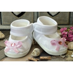 Lovely Baby Girl White & Pink Christening/Baptism Shoes Style PINK CRYSTAL