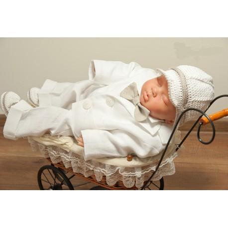 Handmade White/Beige Christening/Baptism Linen and Crochet Suit Style SNOW MARCEL