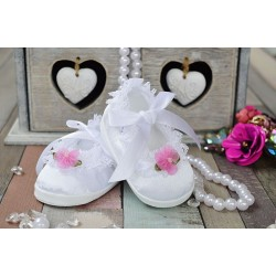 Baby Girl White/Pink Christening/Baptism Shoes Style PRINCESS II