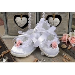 Baby Girl White/Pink Christening/Baptism Shoes Style PRINCESS III