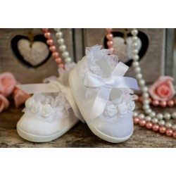 Baby Girls White Christening/Special Occasion Shoes Style ROSE PRINCESS