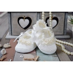 Baby Girls Ivory Christening/Special Occasion Shoes Style ROSE PRINCESS
