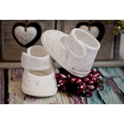 White Christening/Baptism Shoes Style BALLERINA LACE