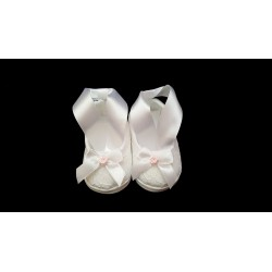 Baby Girls White/Pink Christening/Baptism Shoes Style PINK ROSE with SASH