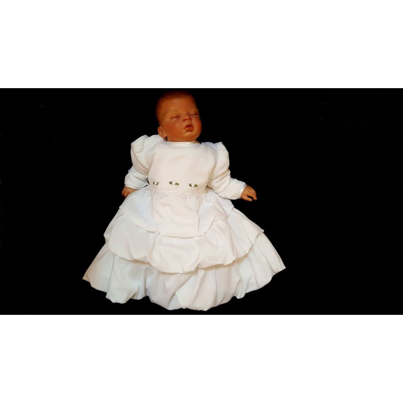 3 pcs White Christening Baby Girl Outfit