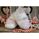 Christening Baby Slippers with Pink Bow
