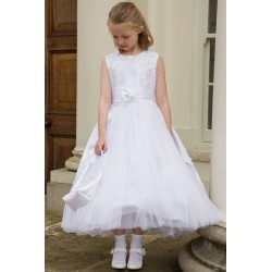 First Holy Communion Ballerina Length Richly Decorated Dress Style ELLE